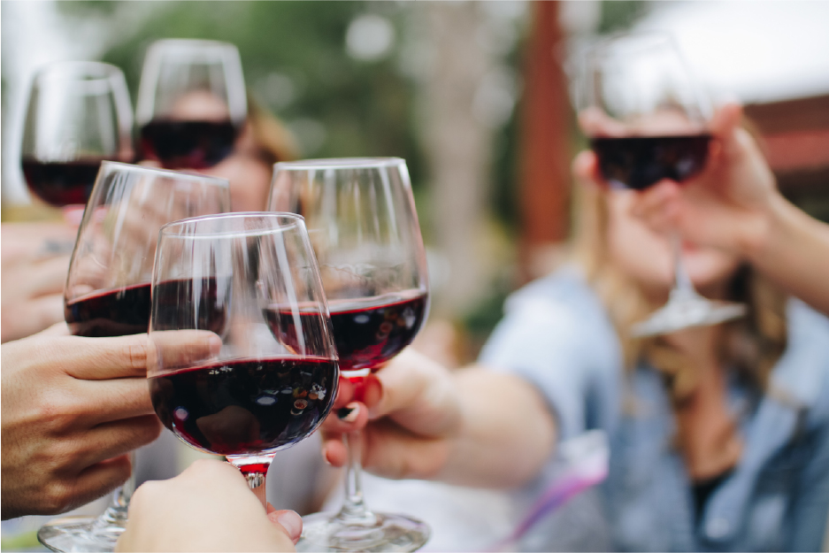 Share a glass of wine with friends Finding France
